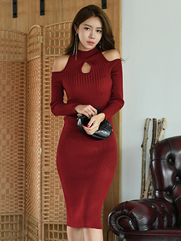 Shoulder Cut Keyhole Long Sleeve Bodycon Dress