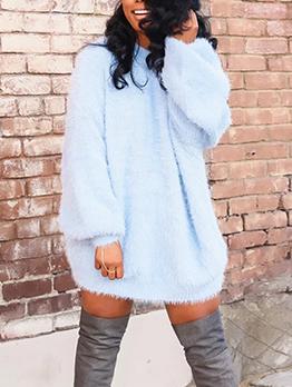 Winter Crew Neck Long Sleeve Mink Dress For Women
