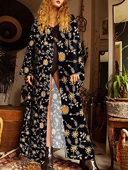 Floral Thin Cardigan Long Coat