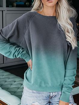 Gradient Color Casual Long Sleeve Sweatshirt