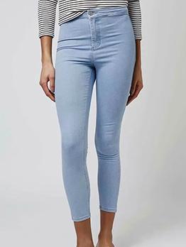 Solid High Waist Long Women Jeans