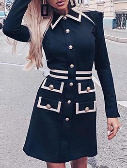 Stylish Contrast Color Button Decor Shirt Dress