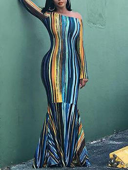 Vintage Fishtail Hem Colorful Evening Maxi Dress