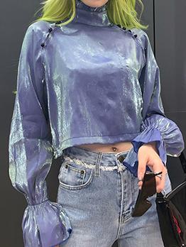 Vintage High Neck Flare Sleeve Ladies Blouse