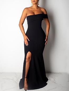 Boat Neck One Shoulder Split Hem Formal Dress