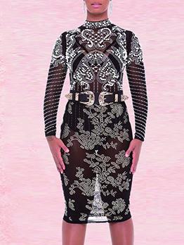 Rhinestone Decor Mock Neck Bodysuit With Pencil Skirt