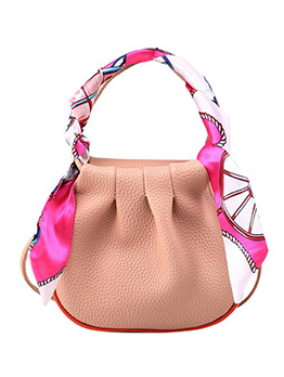 Solid Silk Scarf Handle Skinny Belt Crossbody Bags
