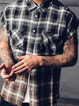 Fashion Loose Short Sleeve Plaid Shirt