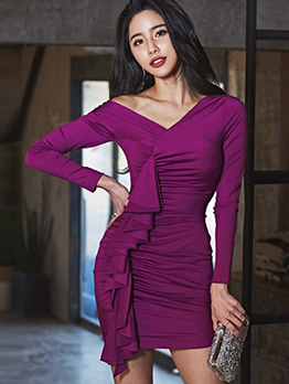 V Neck Draped Purple Long Sleeve Short Dress