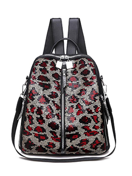 Sequined Leopard Pattern Oxford Material Women Backpack