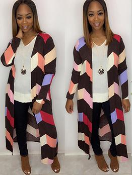 Color Block Long Sleeve Casual Ladies Cardigans