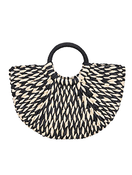 Semicircle Stitching Color Woven Large Beach Handbags