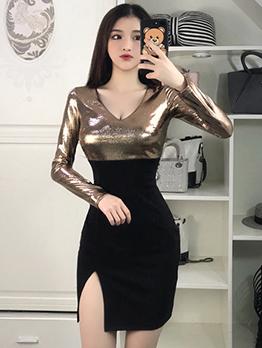 Low-Cut Contrast Color Sexy Bodycon Dress