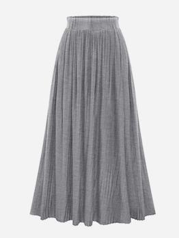 Solid High Waist Pleated Skirt