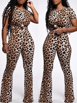 Leopard Printed Short Sleeve 2 Piece Pants Set