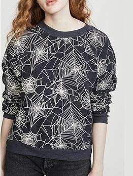 Autumn Spider Web Printed Crew Neck Sweatshirt