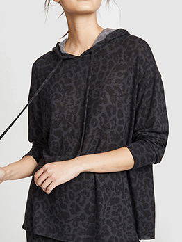 Casual Leopard Print Long Sleeve Hoodies For Women