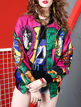 Chic Contrast Color Printed Zipper Up Ladies Coats