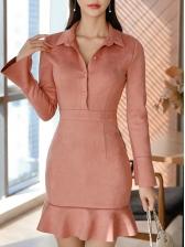Casual Suede Ruffle Trim Shirt Dress