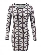 Geometric Printed Long Sleeve Bodycon Dress