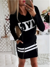 Letter Contrast Color Long Sleeve Hoodie Dress