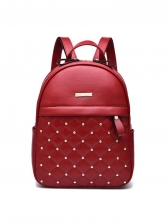 Double Zipper Rivets Solid Pu Backpacks For Women