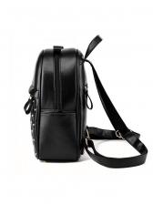 Double Zipper Rivets Solid Pu Backpacks For Women