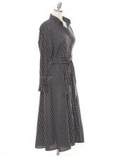 Autumn Button Down Plaid Midi Dress