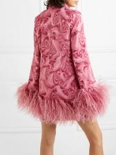 Boutique Feather Decor Long Sleeve Mini Dress