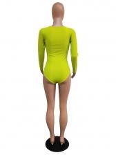 U Neck Solid Color Zipper Long Sleeve Bodysuit