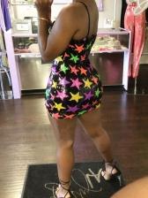 Star Printed Sleeveless Sequin Dress For Women