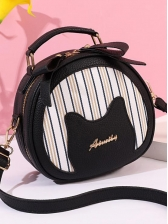 Striped Patchwork Double Zipper Round Crossbody Bags