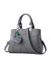 Plush Ball Pendant Line Patchwork Ladies Handbags