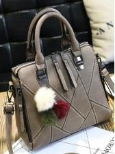 Multicolored Plush Ball Double Zipper Ladies Handbags