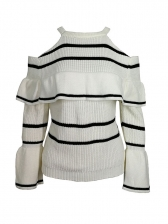 Striped Halter Off Shoulder Ruffled Sleeve Knitted Blouse
