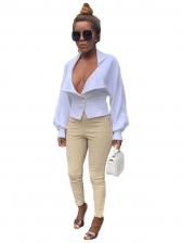 Sexy Low Cut Lantern Sleeve White Blouse