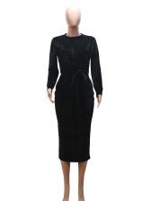 Cross Belt Tie-Wrap Long Sleeve Velvet Dress