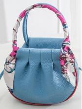 Solid Silk Scarf Handle Skinny Belt Crossbody Bags