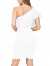 Inclined Shoulder Ruffled Sleeve Bodycon Dress