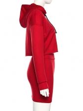 Cropped Long Sleeve Hoodie 2 Piece Skirt Set