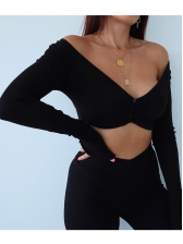 V Neck Single-Breasted Cropped T Shirt