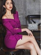 V Neck Draped Purple Long Sleeve Short Dress