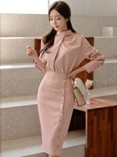 Office Lady Smart Waist Pink Bodycon Dress