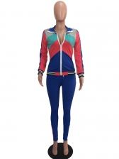 Trellis Patchwork Long Sleeve Blue Suit Women
