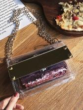 Transparent Pu Sequined Chain 2 Piece Shoulder Bag