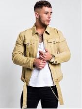 Pockets Zipper Up Mens Winter Denim Jackets