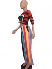 Color Striped Long BellBottomPants