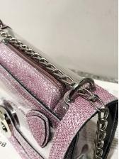 Transparent Pu Glitter Chain 2 Piece Crossbody Bags