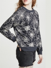 Autumn Spider Web Printed Crew Neck Sweatshirt
