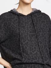 Casual Leopard Print Long Sleeve Hoodies For Women